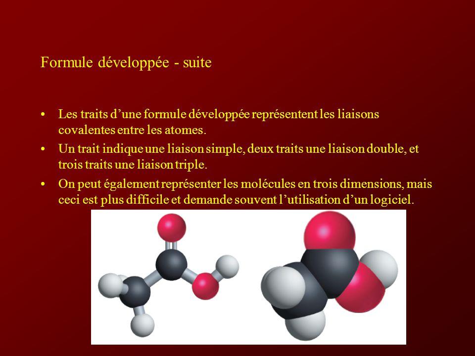 Formule développée - suite Les traits dune formule développée représentent les liaisons covalentes entre les atomes.
