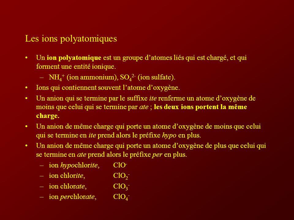 Les ions polyatomiques Un ion polyatomique est un groupe datomes liés qui est chargé, et qui forment une entité ionique.