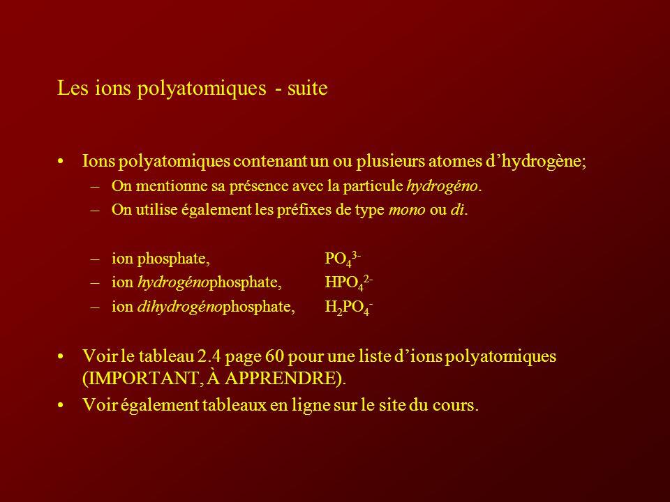 Les ions polyatomiques - suite Ions polyatomiques contenant un ou plusieurs atomes dhydrogène; –On mentionne sa présence avec la particule hydrogéno.