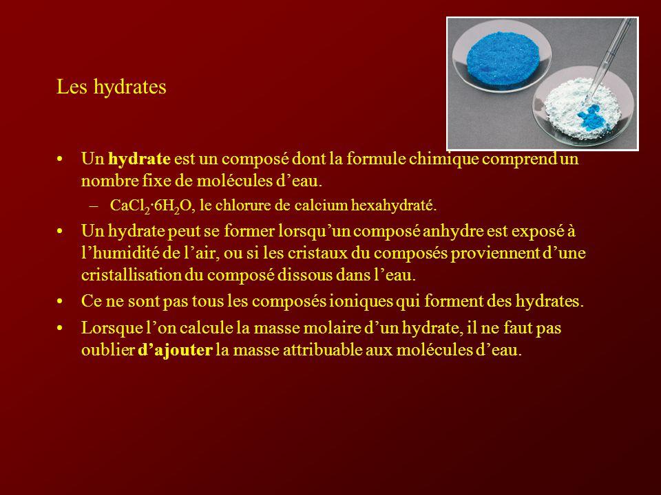 Les hydrates Un hydrate est un composé dont la formule chimique comprend un nombre fixe de molécules deau.