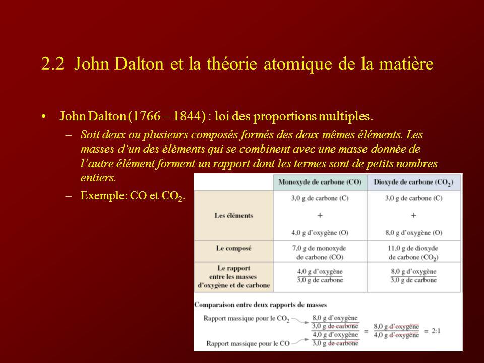 2.2 John Dalton et la théorie atomique de la matière John Dalton (1766 – 1844) : loi des proportions multiples.