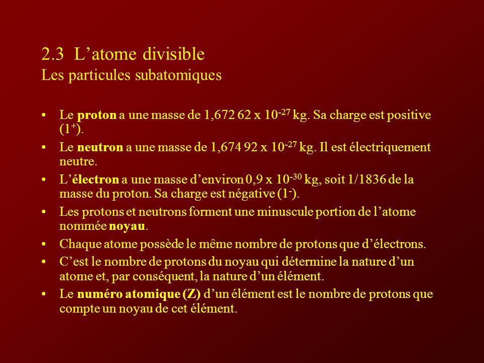2.3 Latome divisible Les particules subatomiques Le proton a une masse de 1,672 62 x 10 -27 kg.