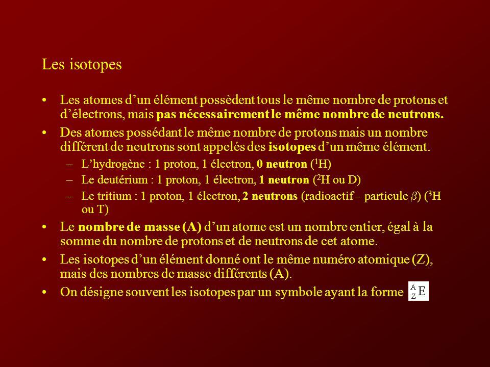 Les isotopes Les atomes dun élément possèdent tous le même nombre de protons et délectrons, mais pas nécessairement le même nombre de neutrons.