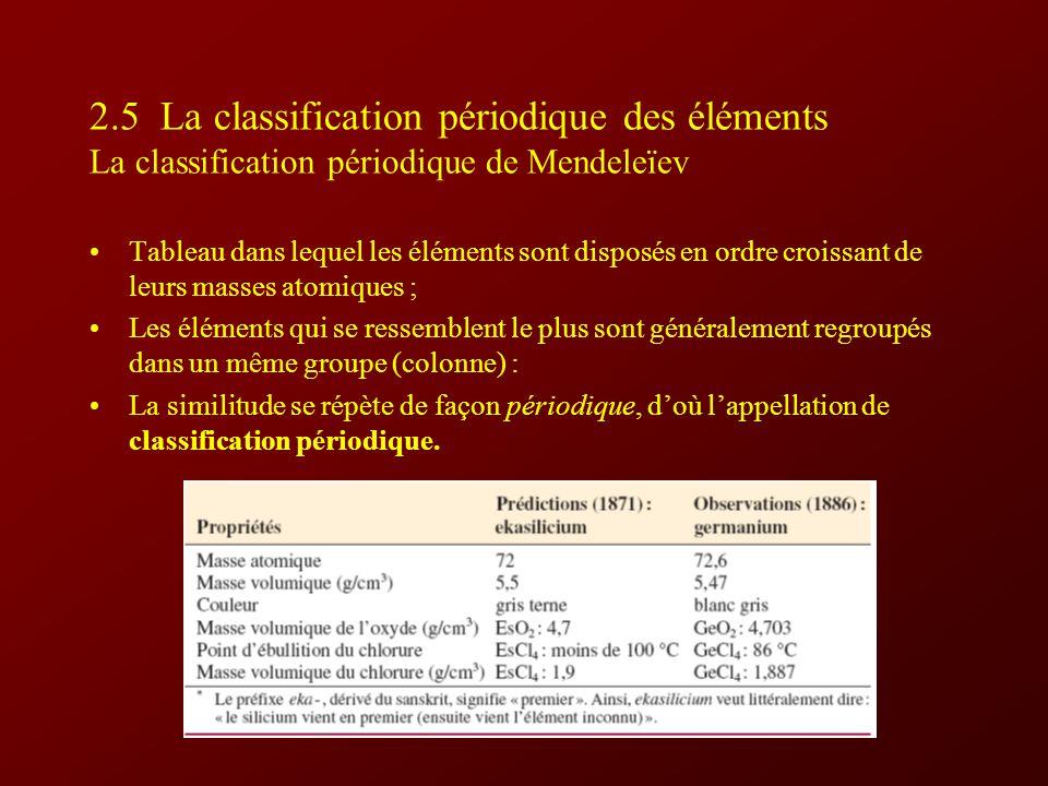 2.5 La classification périodique des éléments La classification périodique de Mendeleïev Tableau dans lequel les éléments sont disposés en ordre croissant de leurs masses atomiques ; Les éléments qui se ressemblent le plus sont généralement regroupés dans un même groupe (colonne) : La similitude se répète de façon périodique, doù lappellation de classification périodique.