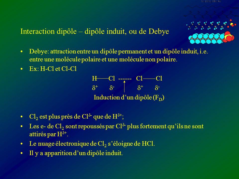 Interaction dipôle – dipôle induit, ou de Debye Debye: attraction entre un dipôle permanent et un dipôle induit, i.e. entre une molécule polaire et un