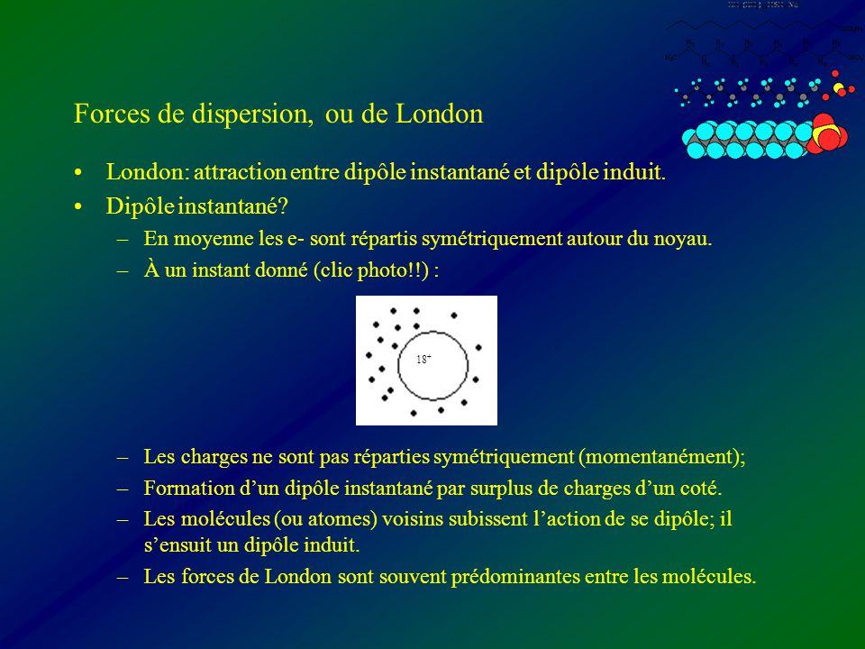 Forces de dispersion, ou de London London: attraction entre dipôle instantané et dipôle induit. Dipôle instantané? –En moyenne les e- sont répartis sy
