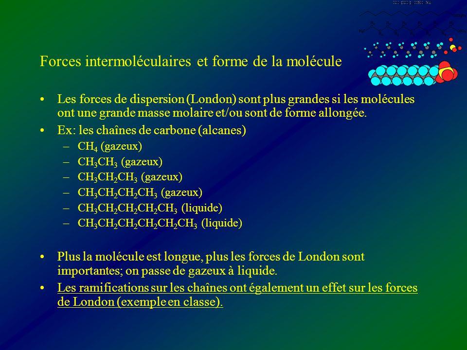 Forces intermoléculaires et forme de la molécule Les forces de dispersion (London) sont plus grandes si les molécules ont une grande masse molaire et/