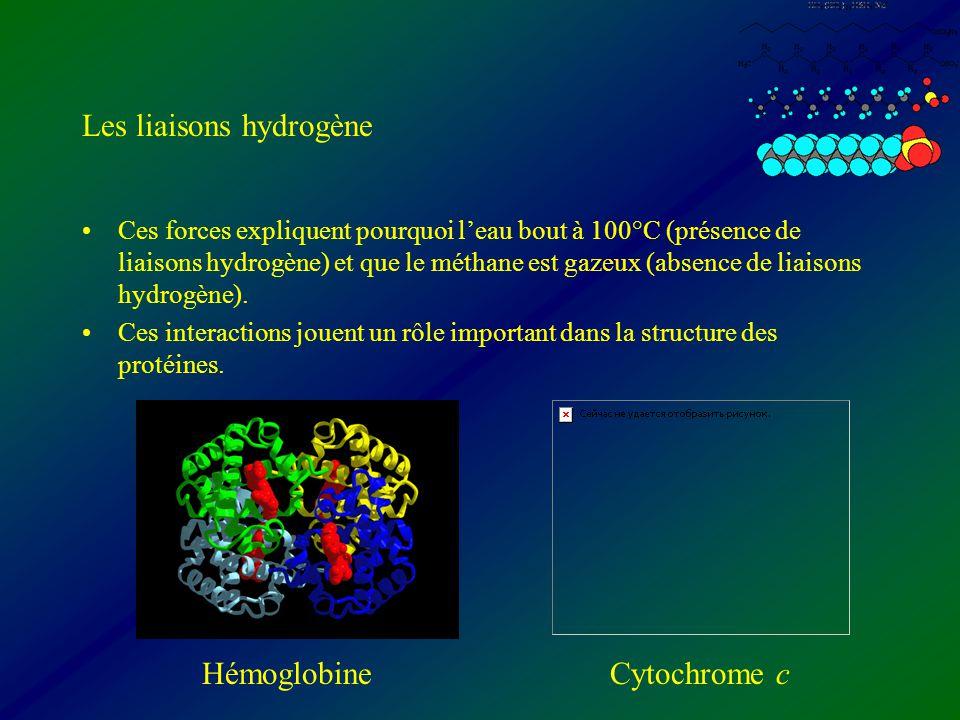 Les liaisons hydrogène Ces forces expliquent pourquoi leau bout à 100°C (présence de liaisons hydrogène) et que le méthane est gazeux (absence de liai