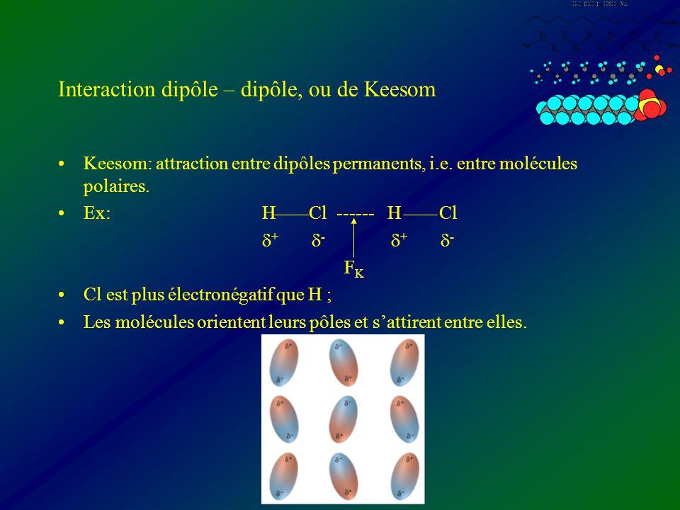 Interaction dipôle – dipôle, ou de Keesom Keesom: attraction entre dipôles permanents, i.e. entre molécules polaires. Ex:H Cl ------ H Cl + - + - F K