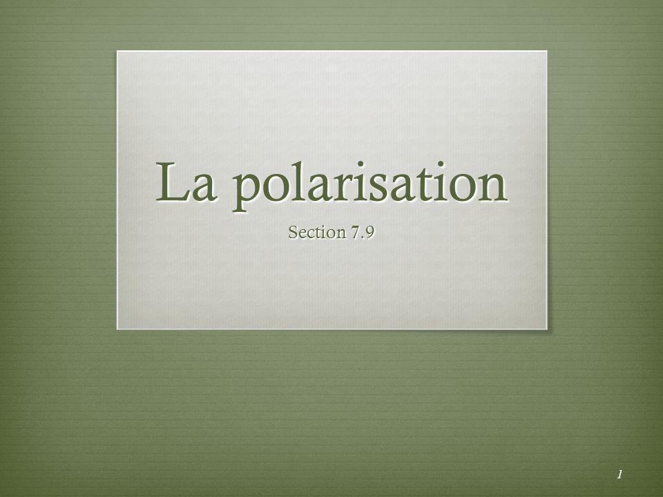 La loi de Brewster Si langle dincidence est égal à langle de polarisation P, le rayon réfléchi et le rayon réfracté sont tous les deux polarisés.