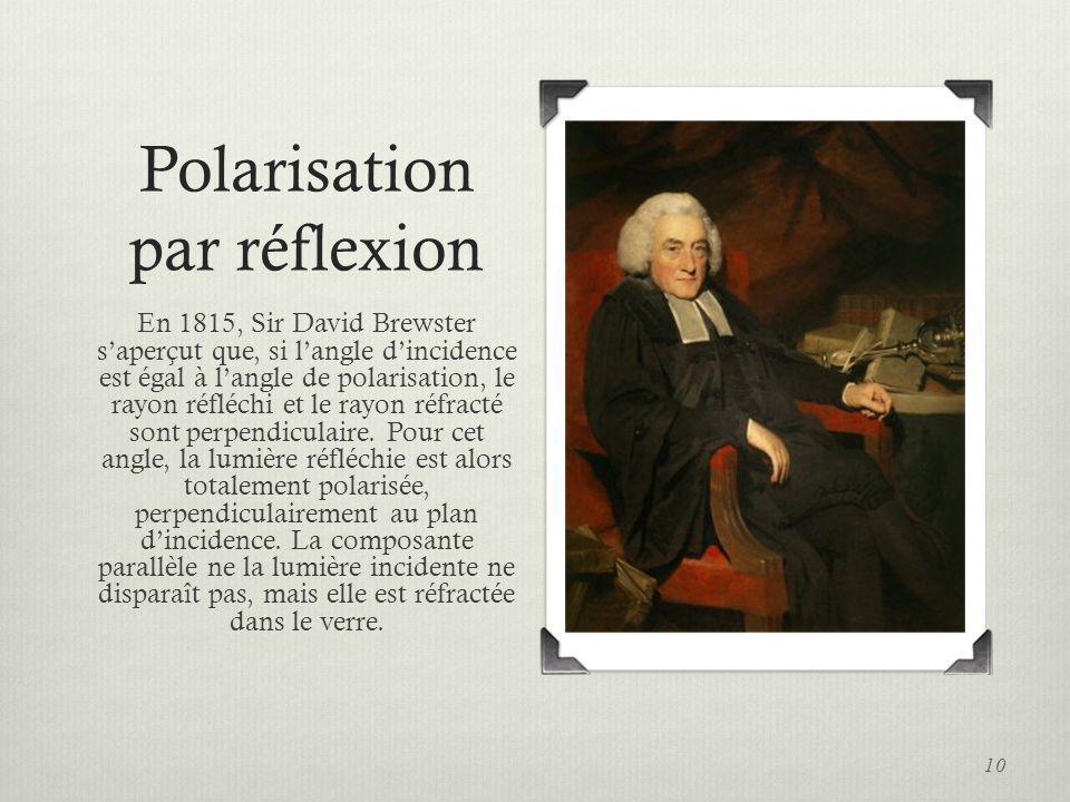 Polarisation par réflexion En 1815, Sir David Brewster saperçut que, si langle dincidence est égal à langle de polarisation, le rayon réfléchi et le r