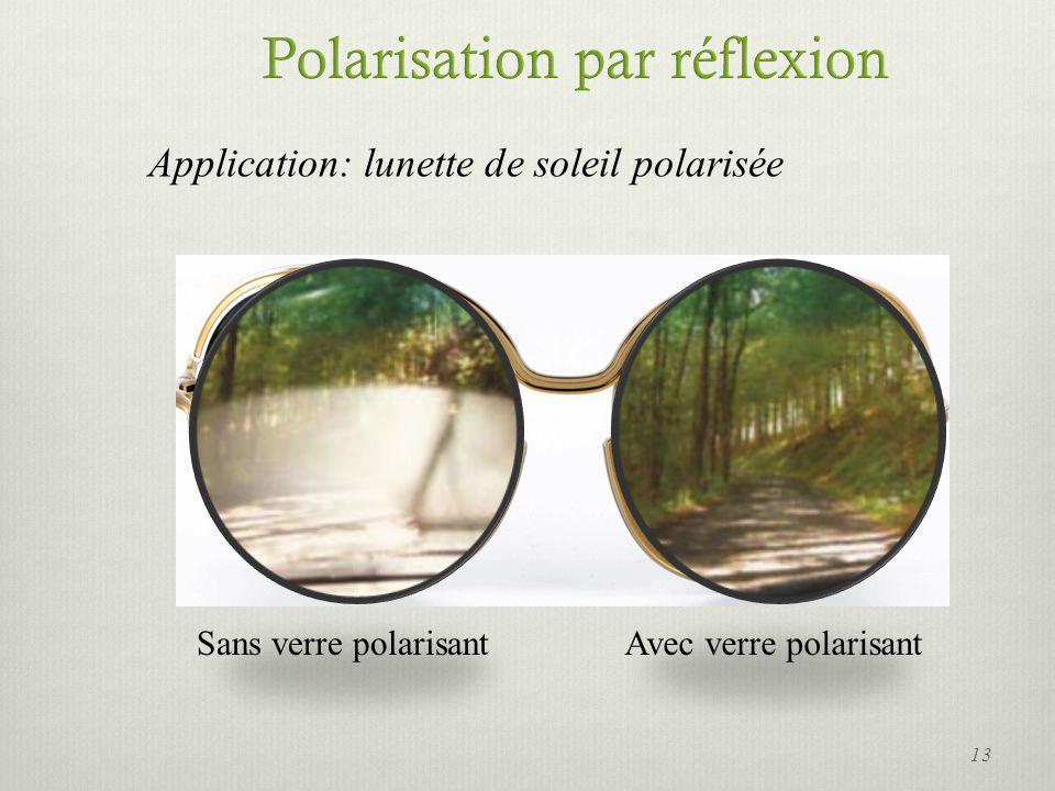 Application: lunette de soleil polarisée Sans verre polarisantAvec verre polarisant 13