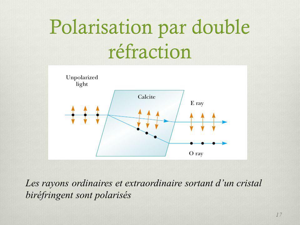 Les rayons ordinaires et extraordinaire sortant dun cristal biréfringent sont polarisés 17