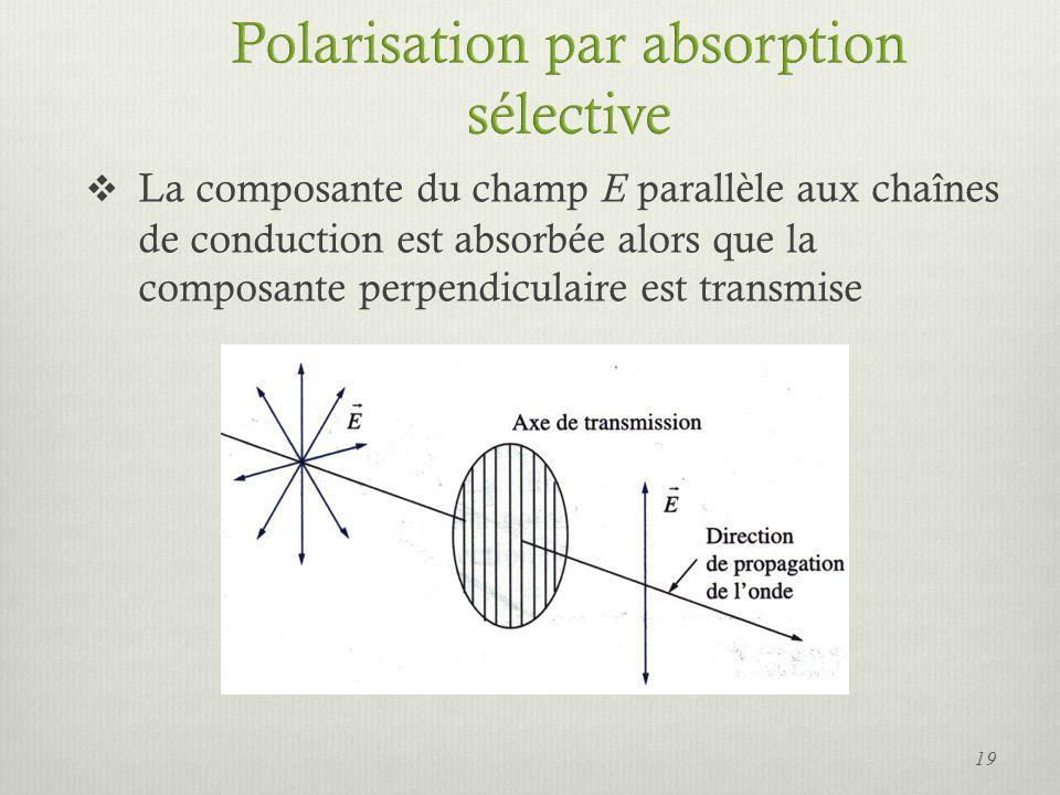 La composante du champ E parallèle aux chaînes de conduction est absorbée alors que la composante perpendiculaire est transmise 19