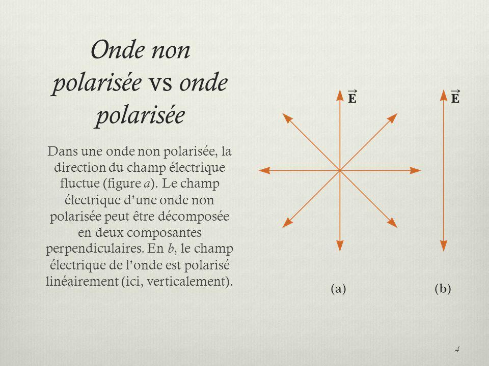 Onde non polarisée vs onde polarisée Dans une onde non polarisée, la direction du champ électrique fluctue (figure a). Le champ électrique dune onde n
