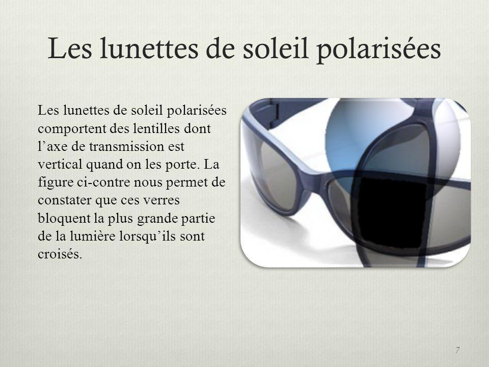 Les lunettes de soleil polarisées 7 Les lunettes de soleil polarisées comportent des lentilles dont laxe de transmission est vertical quand on les por