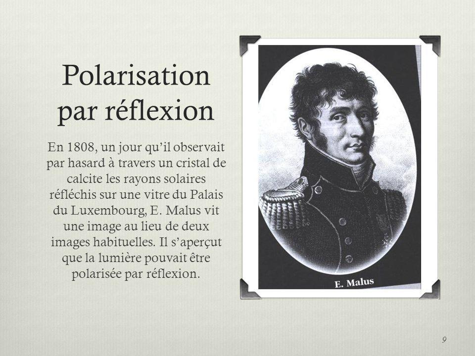 Polarisation par réflexion En 1815, Sir David Brewster saperçut que, si langle dincidence est égal à langle de polarisation, le rayon réfléchi et le rayon réfracté sont perpendiculaire.