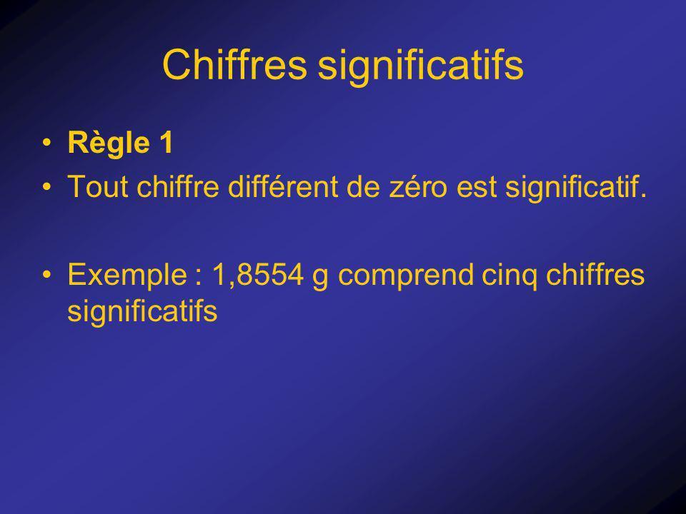 Chiffres significatifs Règle 1 Tout chiffre différent de zéro est significatif. Exemple : 1,8554 g comprend cinq chiffres significatifs