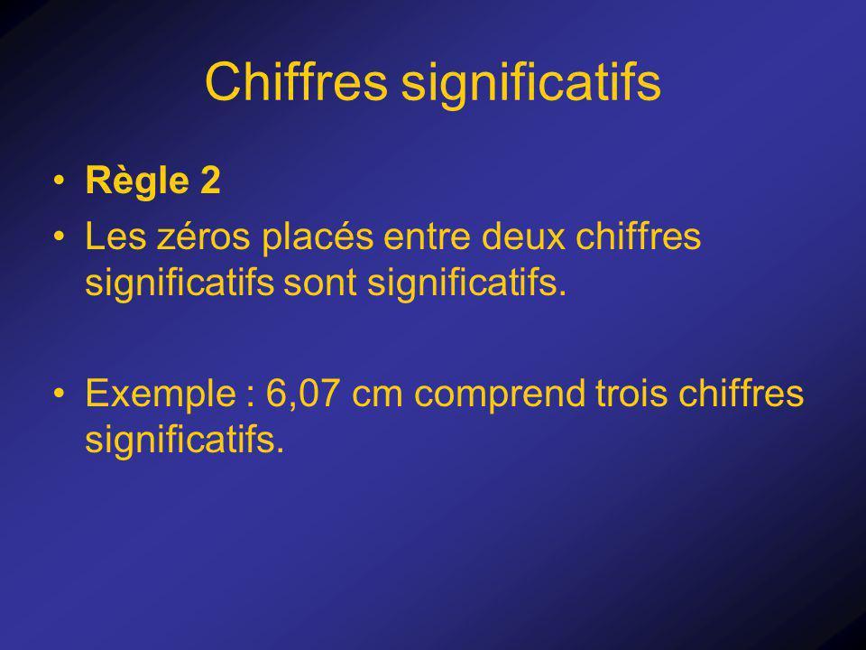 Chiffres significatifs Règle 2 Les zéros placés entre deux chiffres significatifs sont significatifs. Exemple : 6,07 cm comprend trois chiffres signif