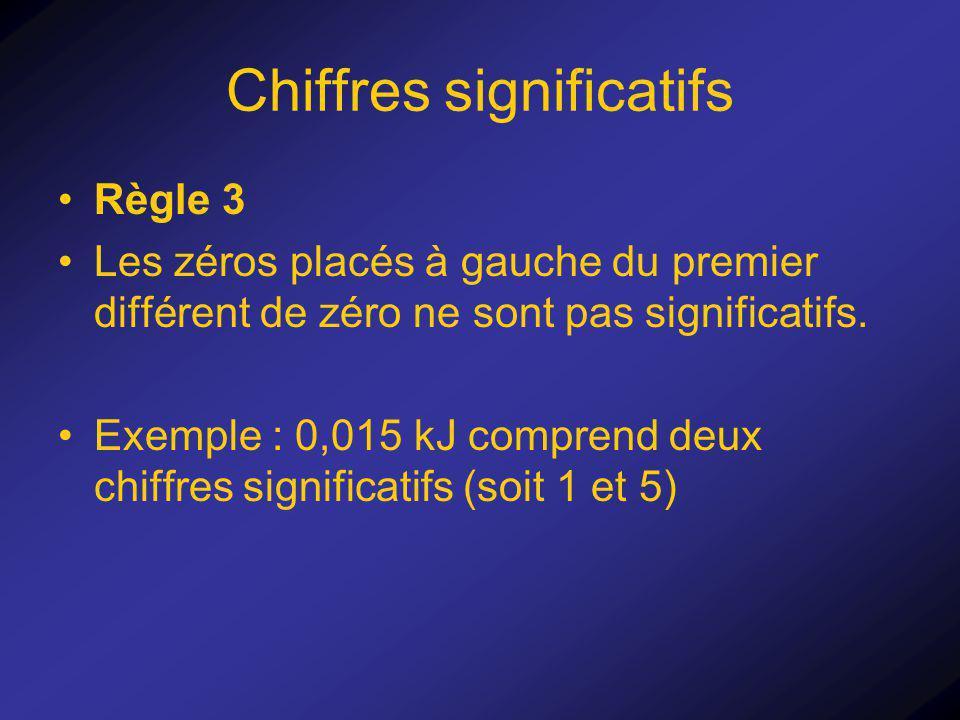 Chiffres significatifs Règle 3 Les zéros placés à gauche du premier différent de zéro ne sont pas significatifs. Exemple : 0,015 kJ comprend deux chif
