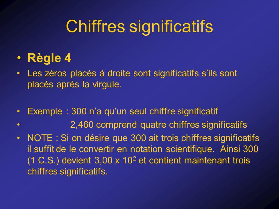 Chiffres significatifs Règle 4 Les zéros placés à droite sont significatifs sils sont placés après la virgule. Exemple : 300 na quun seul chiffre sign