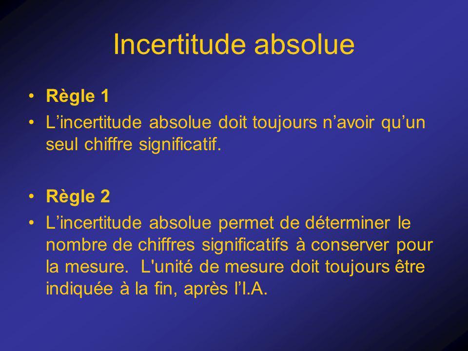 Incertitude absolue Règle 1 Lincertitude absolue doit toujours navoir quun seul chiffre significatif. Règle 2 Lincertitude absolue permet de détermine