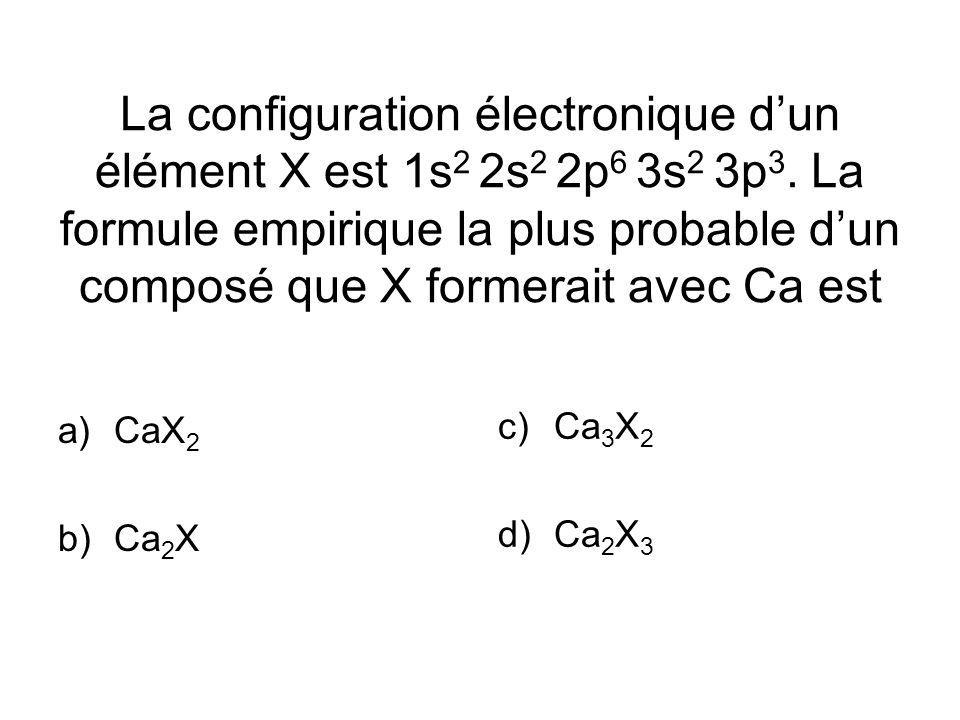 La configuration électronique dun élément X est 1s 2 2s 2 2p 6 3s 2 3p 3.