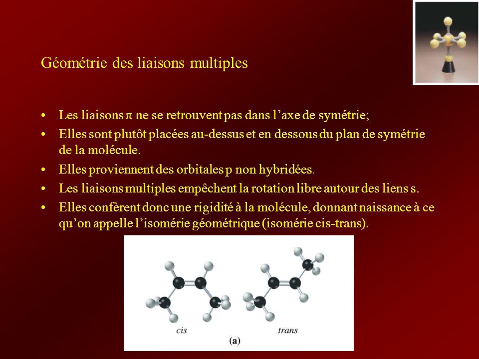 Géométrie des liaisons multiples Les liaisons ne se retrouvent pas dans laxe de symétrie; Elles sont plutôt placées au-dessus et en dessous du plan de