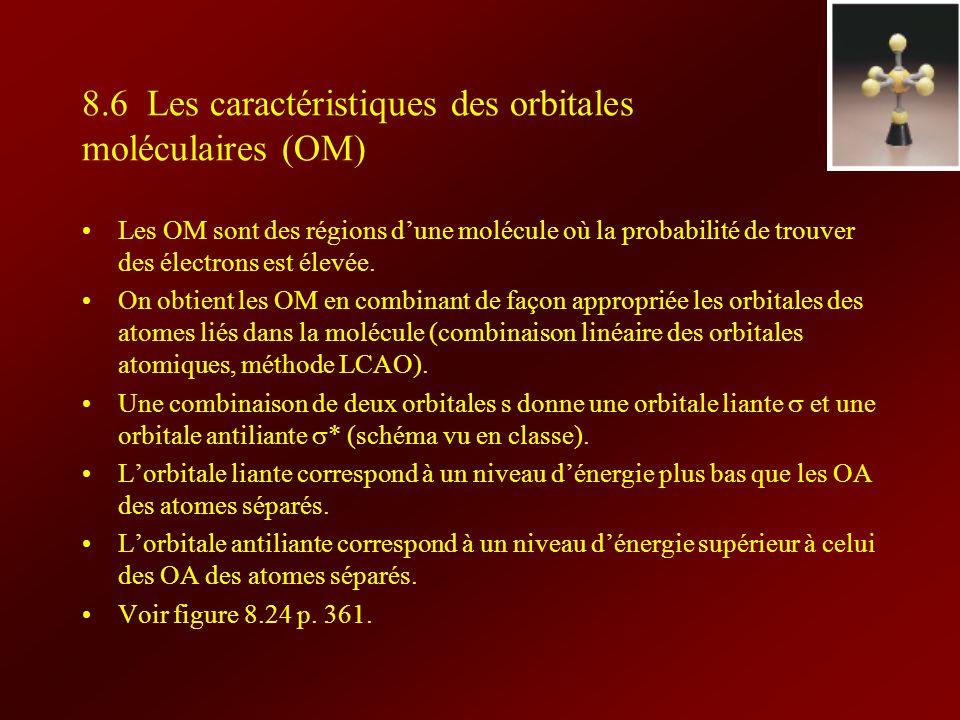8.6 Les caractéristiques des orbitales moléculaires (OM) Les OM sont des régions dune molécule où la probabilité de trouver des électrons est élevée.