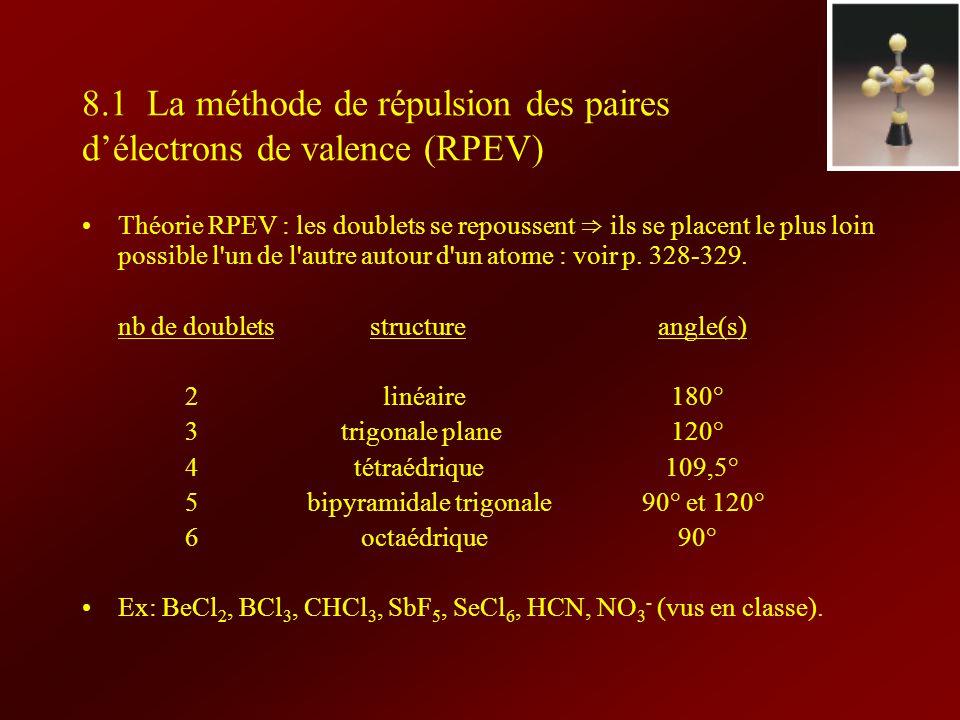 8.1 La méthode de répulsion des paires délectrons de valence (RPEV) Théorie RPEV : les doublets se repoussent ils se placent le plus loin possible l'u