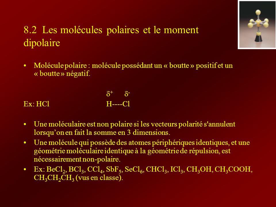 8.2 Les molécules polaires et le moment dipolaire Molécule polaire : molécule possédant un « boutte » positif et un « boutte » négatif. + - Ex: HClH--