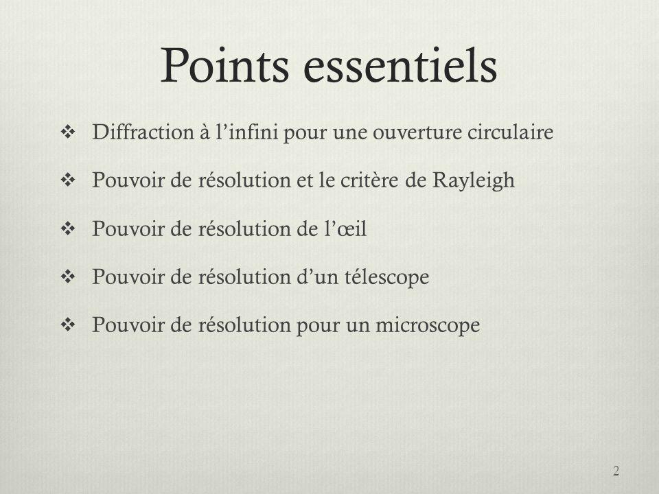 Pouvoir de résolution dun microscope 13 Déterminez la plus petite distance d tout juste résoluble par un microscope.
