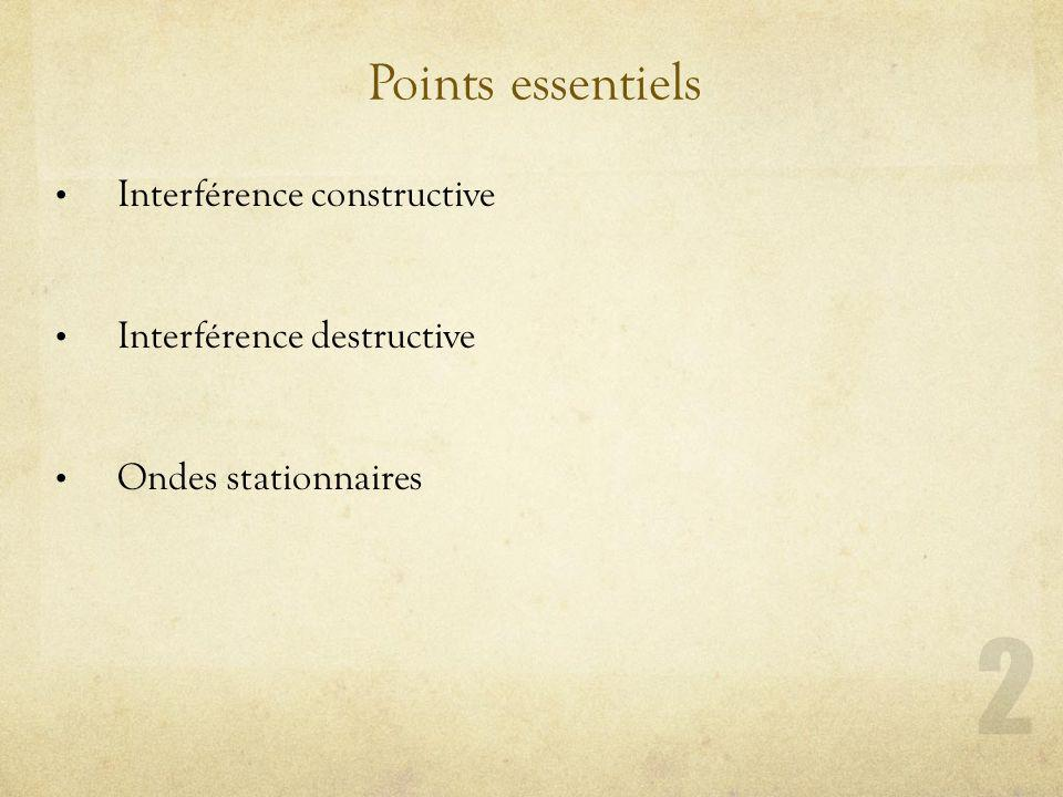 Points essentiels Interférence constructive Interférence destructive Ondes stationnaires