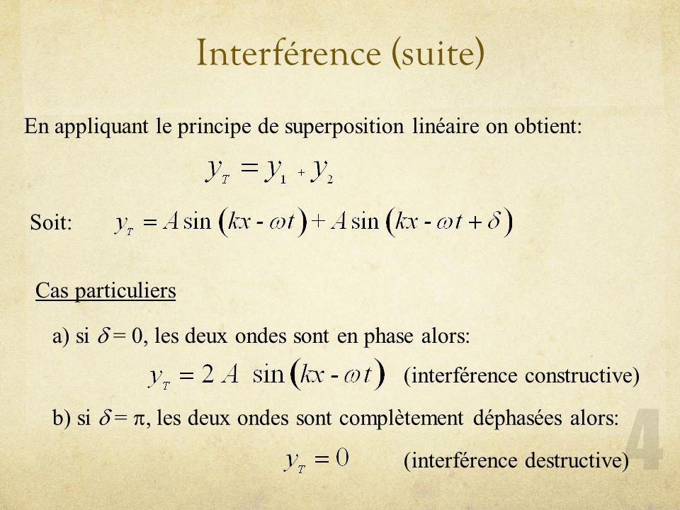 Interférence (suite) En appliquant le principe de superposition linéaire on obtient: Soit: Cas particuliers a) si = 0, les deux ondes sont en phase al