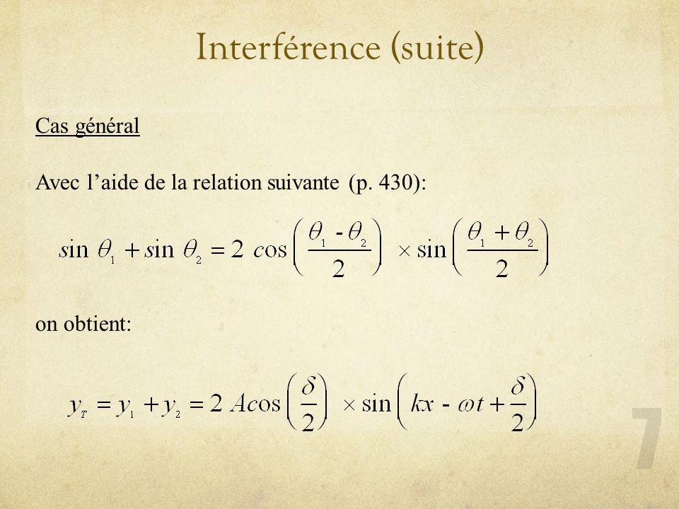 Interférence (suite) Cas général Avec laide de la relation suivante (p. 430): on obtient: