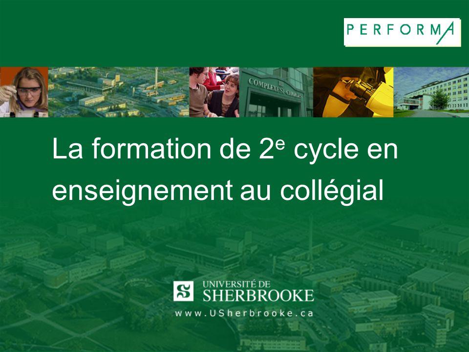 La formation de 2 e cycle en enseignement au collégial