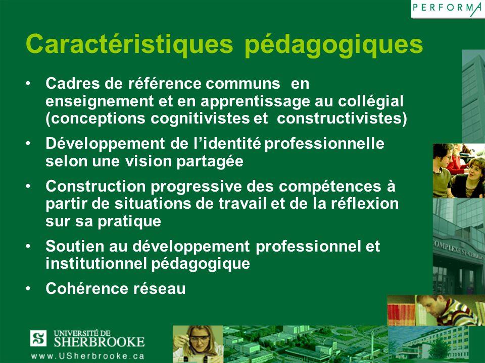 Caractéristiques pédagogiques Cadres de référence communs en enseignement et en apprentissage au collégial (conceptions cognitivistes et constructivis