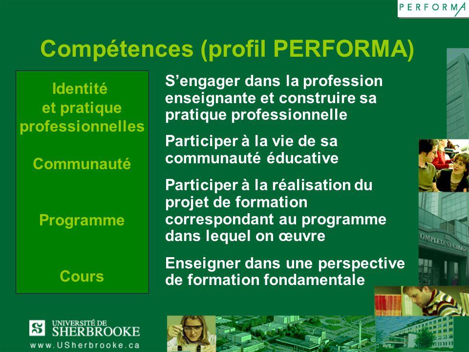 Identité et pratique professionnelles Communauté Programme Cours Compétences (profil PERFORMA) Sengager dans la profession enseignante et construire s