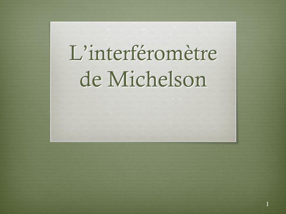 Points essentiels Linterféromètre de Michelson (section 6.6) Mesure de petite distance Mesure de lindice de réfraction dun gaz Lexpérience Michelson-Morley Les ondes gravitationnelles 2