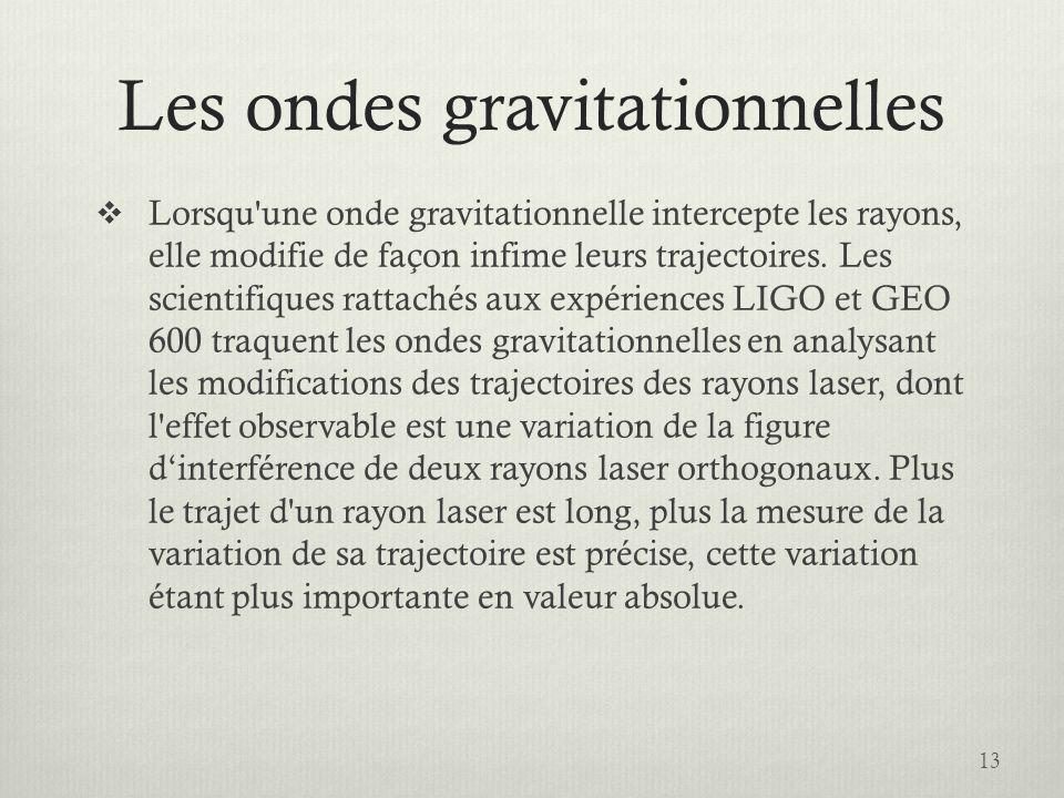 Les ondes gravitationnelles Lorsqu une onde gravitationnelle intercepte les rayons, elle modifie de façon infime leurs trajectoires.
