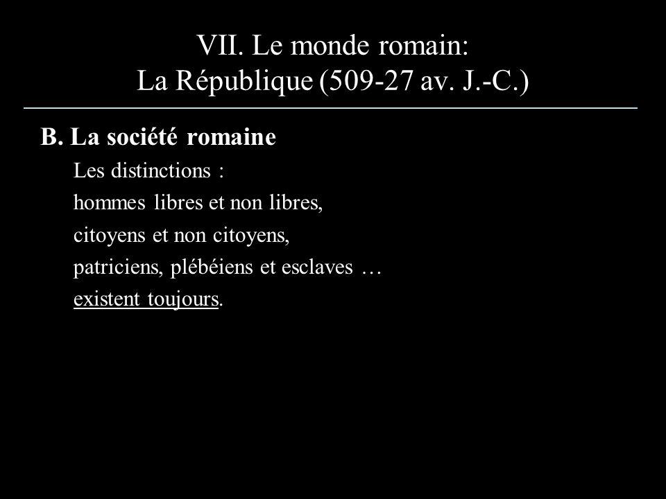 B. La société romaine Les distinctions : hommes libres et non libres, citoyens et non citoyens, patriciens, plébéiens et esclaves … existent toujours.