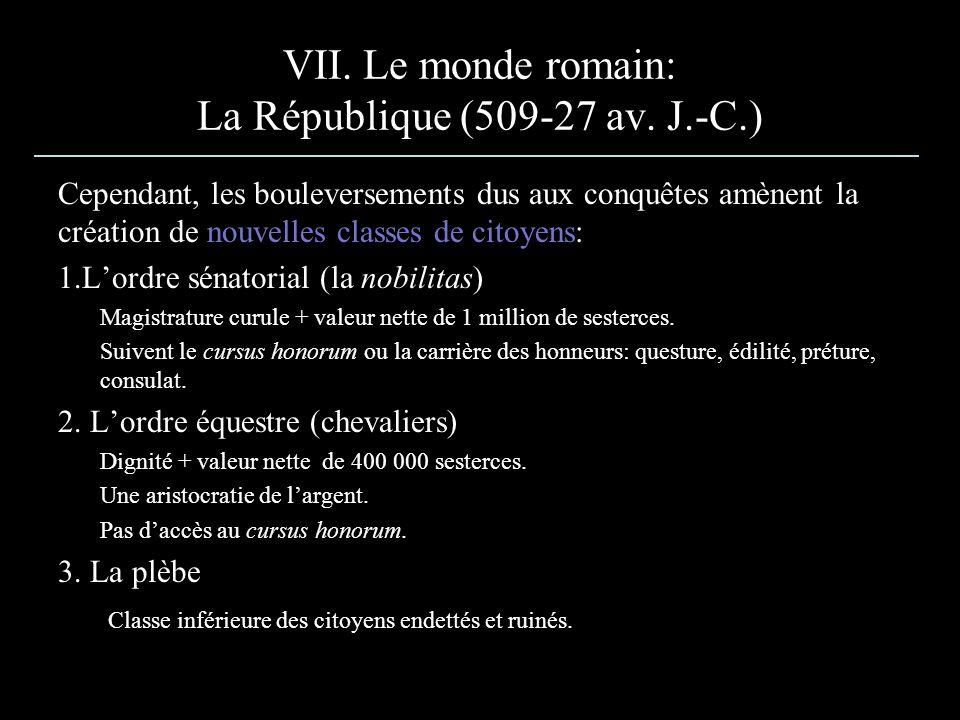 Cependant, les bouleversements dus aux conquêtes amènent la création de nouvelles classes de citoyens: 1.Lordre sénatorial (la nobilitas) Magistrature curule + valeur nette de 1 million de sesterces.