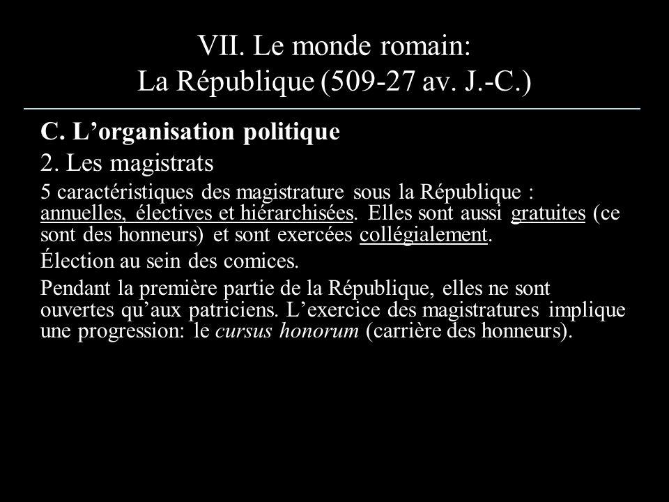 VII. Le monde romain: La République (509-27 av. J.-C.) C. Lorganisation politique 2. Les magistrats 5 caractéristiques des magistrature sous la Républ