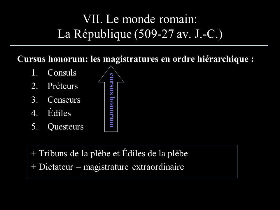 VII. Le monde romain: La République (509-27 av. J.-C.) Cursus honorum: les magistratures en ordre hiérarchique : 1.Consuls 2.Préteurs 3.Censeurs 4.Édi