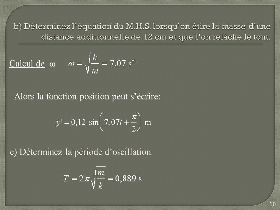 Calcul de Alors la fonction position peut sécrire: c) Déterminez la période doscillation 10