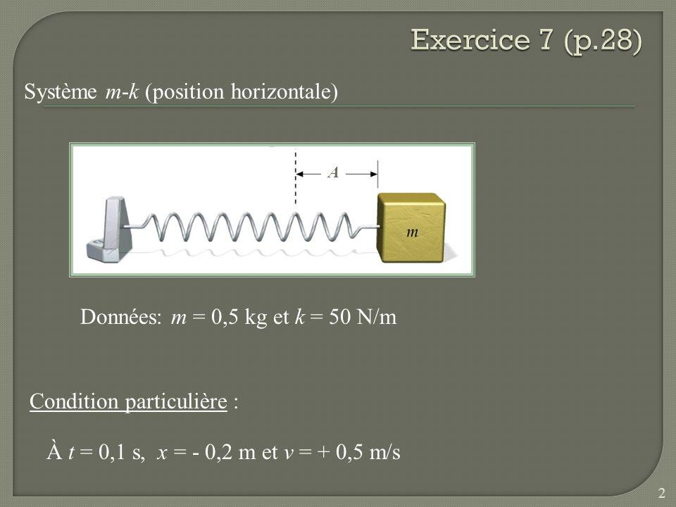 Système m-k (position horizontale) A Condition particulière : À t = 0,1 s, x = - 0,2 m et v = + 0,5 m/s Données: m = 0,5 kg et k = 50 N/m 2
