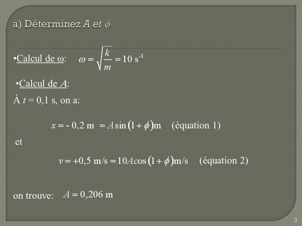 Calcul de : À partir de la fonction position on trouve: Vérifions si la vitesse est exacte: (cest bon) soit: 4