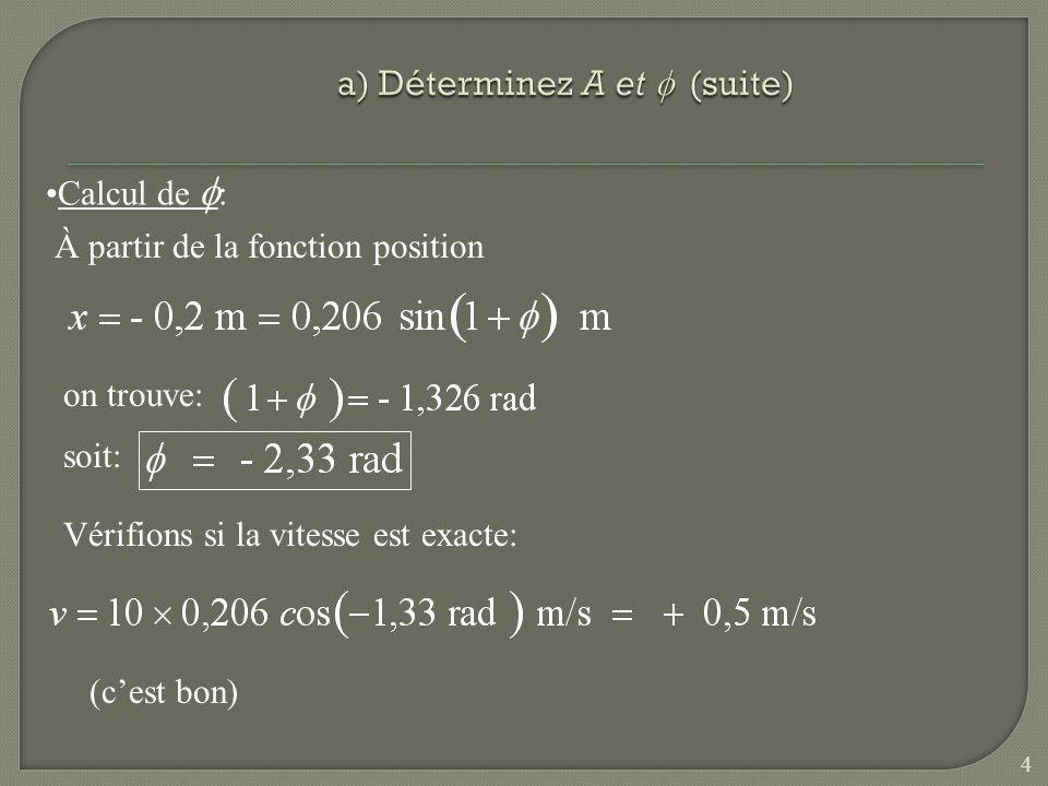 (où t est en seconde) c) À quel instant la condition x = + 0,2 m et v = - 0.5 m/s se produit-elle pour la première fois .