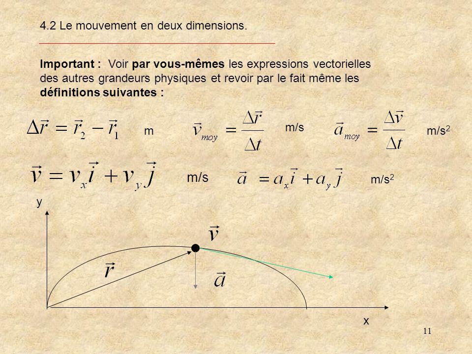 11 4.2 Le mouvement en deux dimensions.