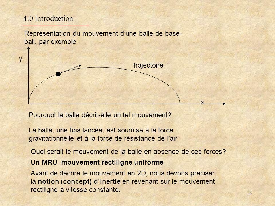 2 4.0 Introduction Représentation du mouvement dune balle de base- ball, par exemple Pourquoi la balle décrit-elle un tel mouvement.